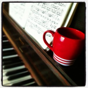 old piano and coffee